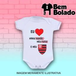 Body infantil Flamengo Time futebol branco manga curta
