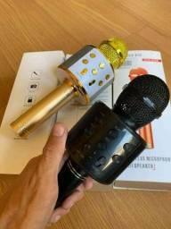 Microfone Karaokê Bluetooth Portátil Com Controle Mixer