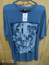 Título do anúncio: Camiseta azul estampada tam.M