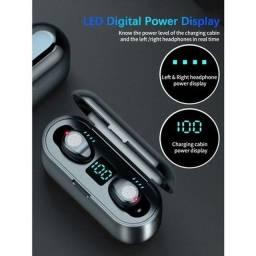 Fone de ouvido tws F9 bluetooth wireless sem fio com powerbank
