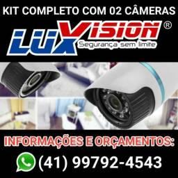 KIT Cftv completo instalado com 02 câmeras de segurança e monitoramento no celular