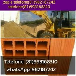 Materiais pra sua construção, areia lavada, britas e tijolos