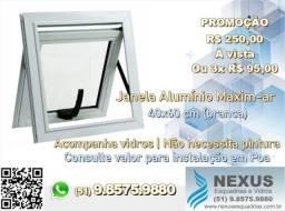 Esquadrias de Alumínio - Janela Maxim-ar 40x60 cm (ou sob medida)