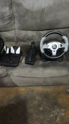 Conjunto para PlayStation 2 volante acelerador e trocador de marcha e mais dois controles