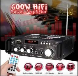 Amplificador de Áudio com Bluetooth, USB, Fm