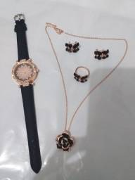 Kit relógio anel brinco colar