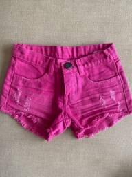 Short infantil jeans rosa