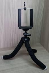 Mini tripé de mesa flexível 360° com suporte para celular