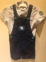 Conjunto Jardineira e Camisa