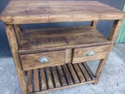 Aparador novo balcão rústico de lavabo em madeira