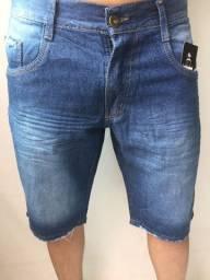 Bermuda jeans com elastano e bermuda Destroyed