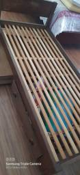 Cama madeira maciça sucupira solteiro com criado