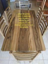 MESA DE 6 CADEIRA EM CINZEIRO
