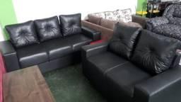 Jogo de sofa com 3x2 lugares em courissimo novo zero direto de fabrica
