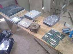Lote peças computador barbada HD, memória DDR400