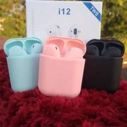 Fone bluetooth i12 de varias cores eletronicos & cia3