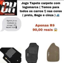 Jogo tapete carpete com logomarca TODOS CARROS ( preto, bege e grafite )