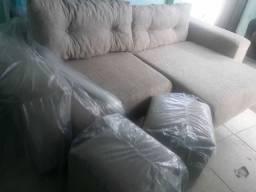Super promoção sofá retrátil novo com 2 puffs