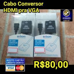 Cabo Conversor HDMI pra VGA Notebooks PC
