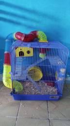Gaiola + hamster anão russo + acessórios.