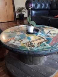 Mesa de Carretel com Colagem/Vidro e Rodinhas Giratórias