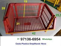 10 Unidades- Cesto Empilhável - Novo- Comercio Loja Padaria Sacolão