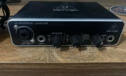 Interface se audio Behring Umc22 + Microfone condensador