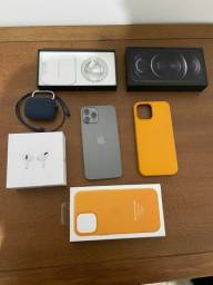 iPhone 12 Pro Max + AirPods Pro + Capa de Couro