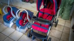 Carrinho Doppio Jeans/Vermelho + 2 Bebê Conforto + 02 Bases - Galzerano