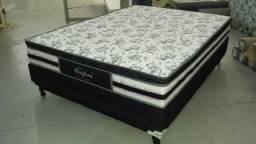 Cama box com colchão molas ensacadas de luxo zerado gratis 2 travesseiros