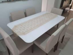 Mesa tampo de vidro + 6 cadeiras