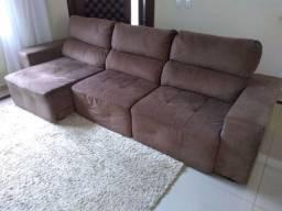 Sofá retrátil e reclinável com chaise
