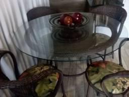 Mesa com 4 cadeira fibra sintética