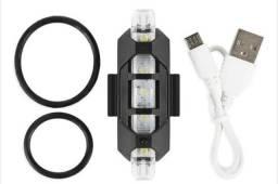 Lanterna Bike Sinalizadora Recarregável USB Led