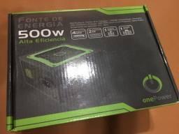 Fonte real 500w Alta eficiência / Na caixa / Facilito