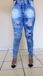Calça jeans Skinny rasgada marmorizada