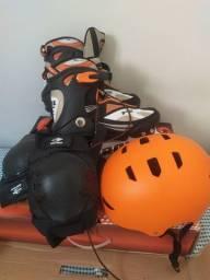 """Patins """"Novíssimo"""" Tam 40 Acompanha capacete e joelheira"""