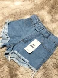 Short jeans feminino com cinto
