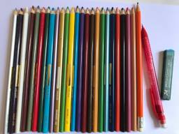 Kit Escolar Lápis de Cor/Lapiseira/Grafite/Apontador/Folhas/Calculadora