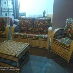 Jogo de sofá inglês completo tecido na fibra sintética