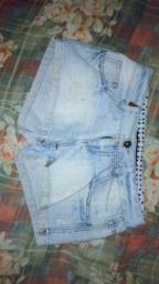 shorts azul claro tamanho 36