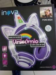 Título do anúncio: Fone de ouvido com luz de led unicórnio personalizados para meninas últimas unidades