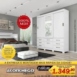 Roupeiro com Espelho 3 Portas Deslizantes e 7 Gavetas 100% MDF Promoção!!!