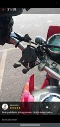 Suporte de celular com cabo USB para moto