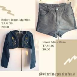 Jaquetas jeans, saia e short