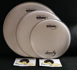 Kit de 5 Peles Batedeiras Williams Density Coated p/Bateria Filme Simples c/Anel
