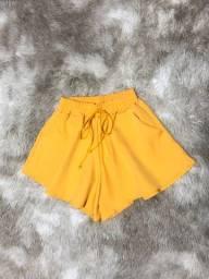 Short godê amarelo feminino