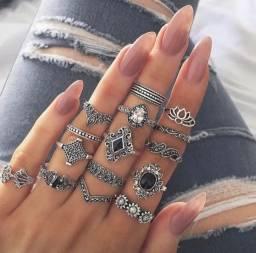 Anel falange jóias jogo com 15 anéis vitória régia y0109