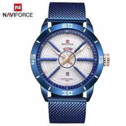 Relógio NAVIFORCE 9155 Militar hélice Blue jeans ouro Resist Água 3ATM ENTREGA GRÁTIS*