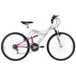 Bicicleta Aro 26 Track & Bikes TB-200 XS 18 Marchas com Dupla Suspensão - Branca